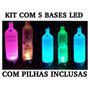Kit 5 Bases Led Faz Garrafa Piscar Vodka