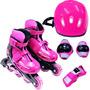 Kit Roller - Patins Inline Com Proteções - Rosa M: 34-37