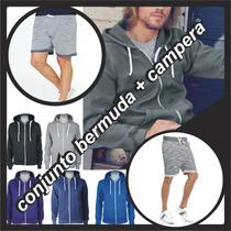 Conjunto Bermuda + Campera Hoodie Algod Slim Fit Capuch 2017