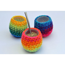 Mate Con Funda Artesanal Tejido A Mano, De Diseño Crochet
