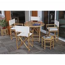 Conjunto Mesa E 4 Cadeiras De Bambu, Jardim, Exterior Garden
