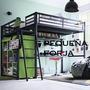 Cama Alta Loft Hierro Descansoescalera Para Plaza Y Media 1m