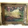 Antiguo Cuadro Oleo Pintura Sobre Tabla Mujer Desnudo Firmad