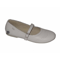 Zapatos Comunion Marcel Cuero Chatita Blanco Hebilla Dream G