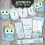 Kit Imprimible Lechuza Buho Nene Primer Añito Baby Shower