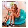 Puff Sillon Inflable Transparente Marca Intex Hasta 130 K.