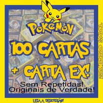 Carta Ex + 100 Cartas Pokemon + 5 Cartas De Lendários