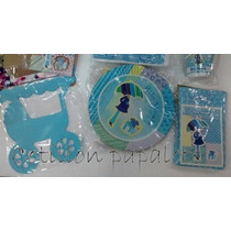 10 Platos Cotillon Baby Shower Bebe Nena Nene Cumple Deco