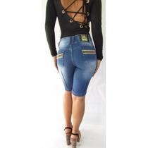 Bermuda Jeans Feminina Cos Alto Hot Strass (01088)