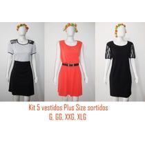 Kit 5 Vestidos Sortidos Plus Size - G, Gg, Xxg, Egg