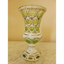 Raríssimo Vaso De Cristal Frances Overlay- Verde E Branco