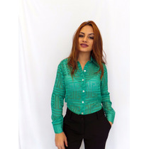 Camisa Feminina Manga Longa Transparente Promoçao
