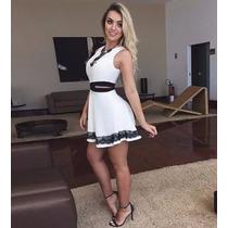 Vestido Verão Curto Branco Preto Sensual Sexy Balada Festa