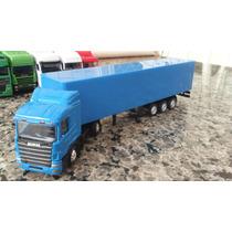 Caminhão Scania Carreta Bau Azul Miniatura 1/87 Coleção