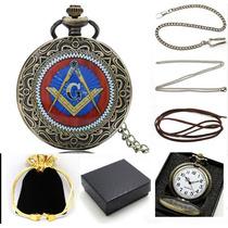 Relógio De Bolso Quartz Antigo C/ Símbolo Maçom/maçonaria