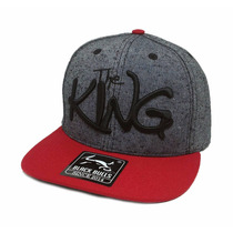 Boné Black Bulls The King Cinza Aba Reta Snapback J-83