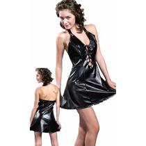 2 Piezas: Vestido Cuero Símil Con Herrajes + Tanga Colaless