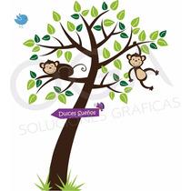 Vinilo Decorativo Pared Monitos Arbol Infantil Selva Niños