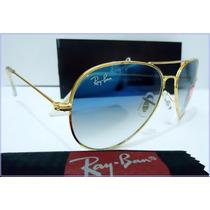 Rayban Aviador 3026 Azul Degrade Lente Diamante Armação Ouro