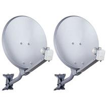 Kit 2 Antenas Banda Ku 60 Cm Completas + Cabos +lnbs Duplos