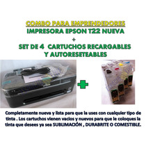 Impresora Epson T22 Nva De Paquete!! + Cartuchos Recargables