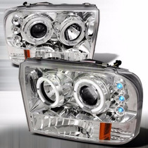 Farol Angel Eyes Led F250 1998 A 2006 Cromado + Kit 8500k