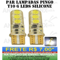 Par Lampadas Pingo T10 6 Leds Smd Branco Neon Prova Dagua