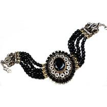 Nlt-pulseira Turqu Turco Prata 925 Cristal Negro Onix Zirco