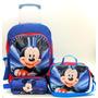 Mochila Mickey Mouse Rodinhas Infantil + Lancheira + Estojo