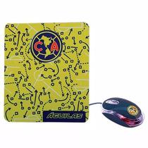 Mouse Optico Con Mouse Pad Club Aguilas America 18-7050ca