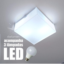 Plafon Led Acrílico 30x30 Quadrado Luminária Com Lâmpada