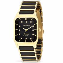 Relógio Technos Ceramic/sapphire Preto/dourado Ref:2036lmq/4