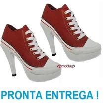 Sneaker Tenis Feminina Salto Alto Preto Plataforma Vermelho
