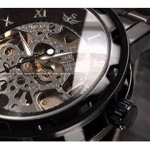 Relógio Winner Automático Esqueleto Preto Transparente Máqui