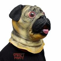 Disfraz De Halloween De Adulto Pug Mascara De Cabeza Animal