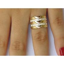 Anel Feminino Prata 950 Maciça Apliques De Ouro E Zircônias