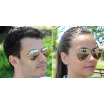 Óculos De Sol Ray Ban Rb 3025 Dourado Preto Espelhado