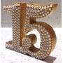 Topper Para Torta Número Quince Con Stras Y Perlas Dorado