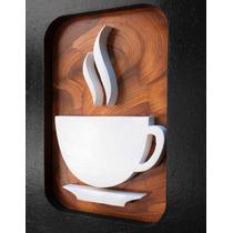 3 Quadros Decorativos Cozinha Café 20cm Pintura Mdf Sala
