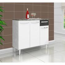 Balcão Gabinete De Cozinha Branco E Preto Com Tampo *