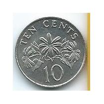 Moneda De Singapur 10 Cents 1986 Sin Circular