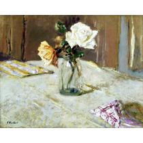 Lienzo Tela Édouard Vuillard Rosas En Vaso De Cristal 50x60
