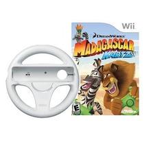 Jogo Madagascar Kartz Original + Volante Para Nintendo Wii