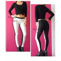 Calzas Leggings Chupin De Lycra Combinadas Blanco Y Negro