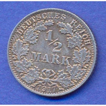 Alemania Imperio 1/2 Mark 1917 A Plata * Wihelm Ii *