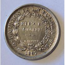 Moneda De Bolivia - 50 Cent - 1897 Es - Plata - En Mendoza