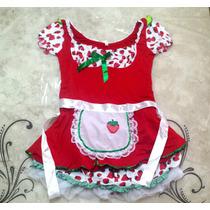 Vestido Fantasia Feminina Moranguinho Boneca Linda Festa Nov