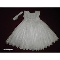 Nuevo Vestido Blanco Bautizo Ropon 9-12 Mese Organza Plisada