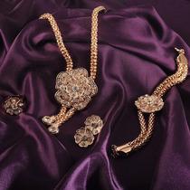 Set De Collar, Aretes, Pulsera Y Anillo En Chapa De Oro