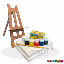 10 Kit Pintura Infantil 1 Caval +2 Telas +1 Pincel +6 Tintas